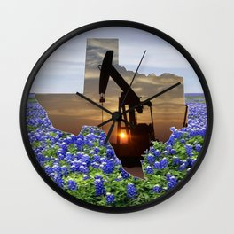 Texas Oil Pump Jack At Sunset In Field Of Bluebonnets Wall Clock