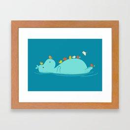 Floating Hippo Framed Art Print