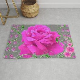 ROMANTIC CERISE PINK ROSE GREY ART RIBBONS Rug