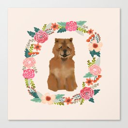 chowchow dog floral wreath dog gifts pet portraits Canvas Print