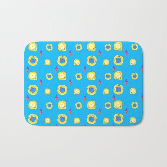 yellow substances in a blue matter Bath Mat