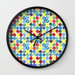 Colorful watercolor hand drawn dots pattern. Wall Clock