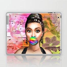 Retro Pinup Girl Colorful Music Sheet & Flowers Laptop & iPad Skin