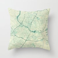 austin Throw Pillows featuring Austin Map Blue Vintage by City Art Posters