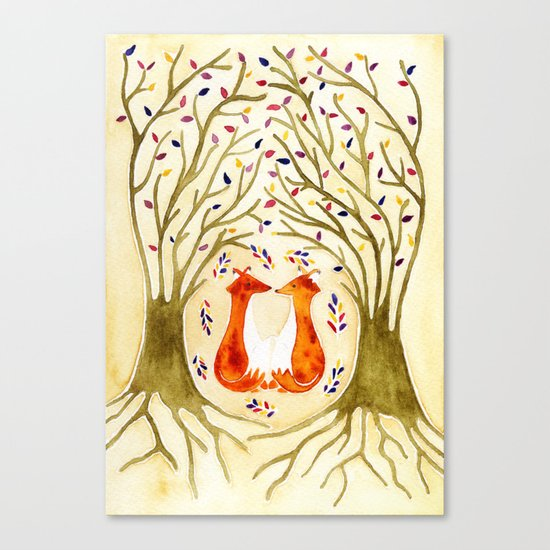 Two Foxes Meet In The Trees Canvas Print