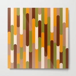 Retro 70s long capsules brown orange green Metal Print