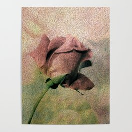 Painterly Pink Rose Bud Poster