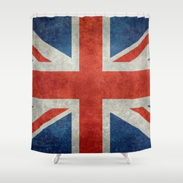 "UK Union Jack flag ""Bright"" retro grungy style Shower Curtain"