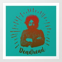 grateful dead Art Prints featuring Grateful Dead, Jerry Garcia by Burnish and Press