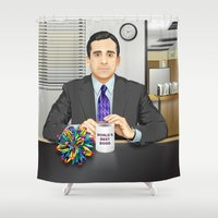 michael scott Shower Curtains featuring Steve Carell as Michael Scott (The Office) by Leo Maia