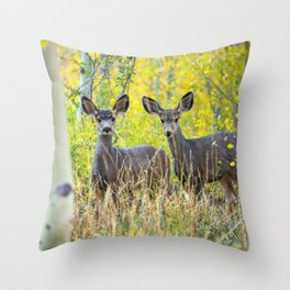 Double Take - Pair of Young Mule Deer Hiding in Autumn Aspens Throw Pillow