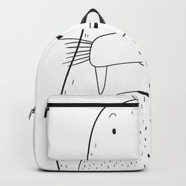 Cute Walrus Animal Hand Drawn Graphic Backpack