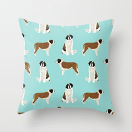 Saint Bernard dog breed pet portrait pure breed unique dogs gifts Throw Pillow