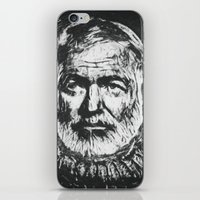 hemingway iPhone & iPod Skins featuring Ernest Hemingway portrait by Psychedelic Astronaut