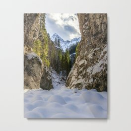 Winter and spring valley and mountains Metal Print