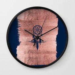 Modern navy blue faux rose gold dreamcatcher Wall Clock