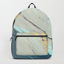 Karma: a bold abstract in blues and gold Backpack