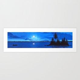 Boundary Waters Moonlight Canoe Art Print