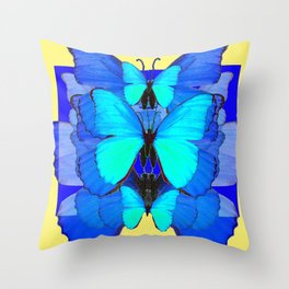 DECORATIVE BLUE SATIN BUTTERFLIES YELLOW PATTERN ART Throw Pillow