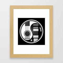 White and Black Acoustic Electric Yin Yang Guitars Framed Art Print