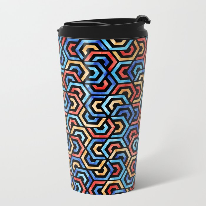 Seamless Colorful Geometric Pattern XXXI Metal Travel Mug