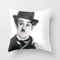 charlie chaplin Throw Pillows featuring Charlie Chaplin by Art by Boothe