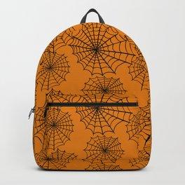 Black orange hand painted halloween spider web pattern Backpack
