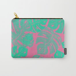 Linocut Monstera Pink Carry-All Pouch