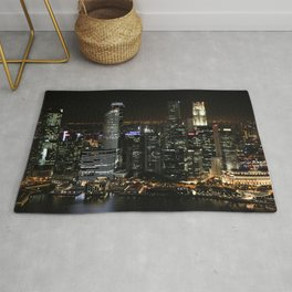 city at night lights skyline Rug