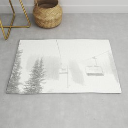 Ski Lift Horizon // Ride to the Peak Epic Adventure Whiteout Black and White Minimal Photograph  Rug