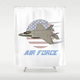 American Air Force F35 Jet Fighter Shower Curtain