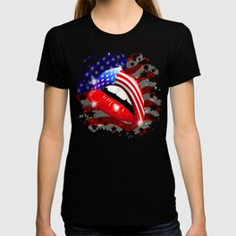 USA Flag Lipstick on Sensual Lips T-shirt