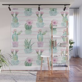 Cute Potted Cacti Stripe Pattern Wall Mural