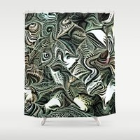 novelty Shower Curtains featuring Octopod Party by Moody Muse