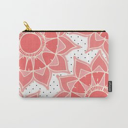 Coral ivory floral mandala black white polka dots Carry-All Pouch