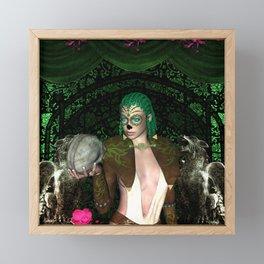 Women with sugar skull face Framed Mini Art Print