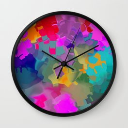 abstract floral with violet Wall Clock