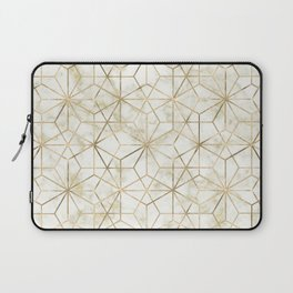 Modern gold and marble geometric star flower image Laptop Sleeve