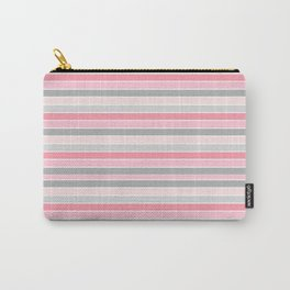 Gray and Pink Striped Pattern Carry-All Pouch