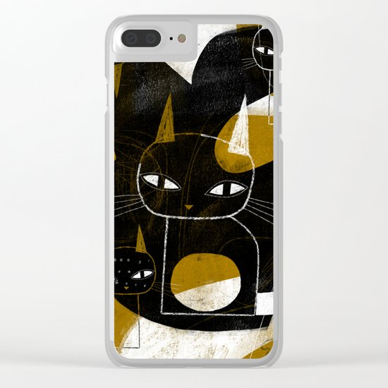 ABSTRACT WITH FIVE CATS Clear iPhone Case
