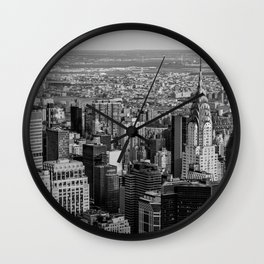 Midtown from top (B&W) Wall Clock