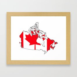 Canada Map with Canadian Flag Framed Art Print