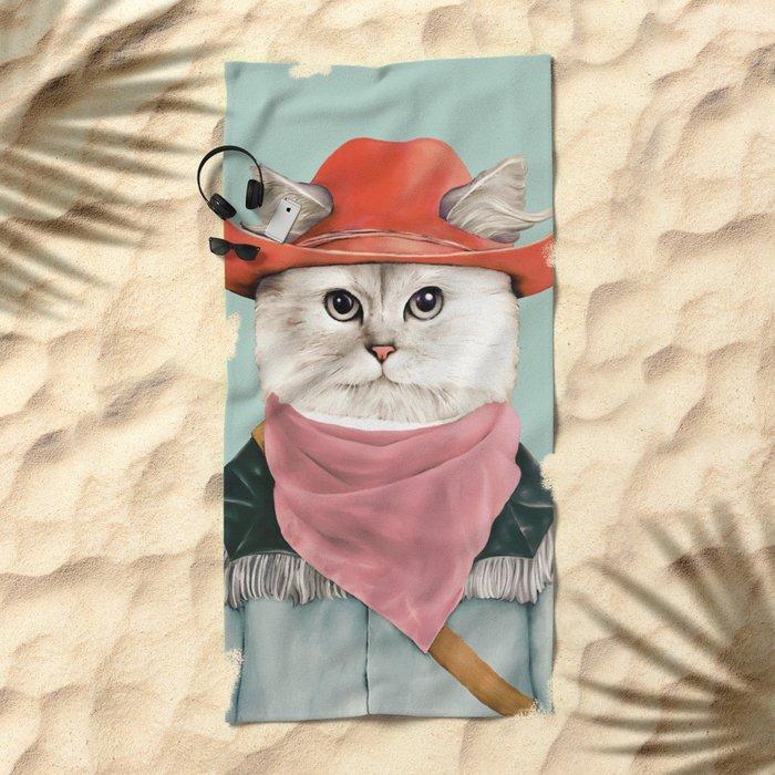 Rodeo Cat Beach Towel