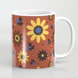 Retro Fall 60's Sunflower Floral in Brown Coffee Mug