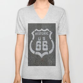 Route 66 sign on the road Unisex V-Neck