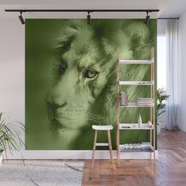 Fantasy Lion of Legend in Green-Glow Wall Mural