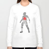 the winter soldier Long Sleeve T-shirts featuring Winter Soldier (Bucky Barnes) by MajesticSeahawk Designs
