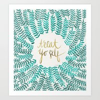 calligraphy Art Prints featuring Treat Yo Self – Gold & Turquoise by Cat Coquillette