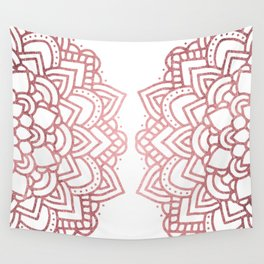 Modern geometric white rose faux gold floral mandala Wall Tapestry
