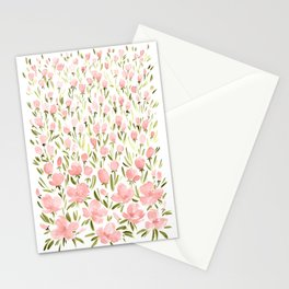 Field of pink flowers Stationery Cards